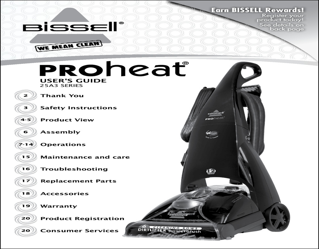 bissell carpet cleaner instructions manual