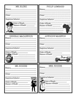 And then there were none character chart pdf