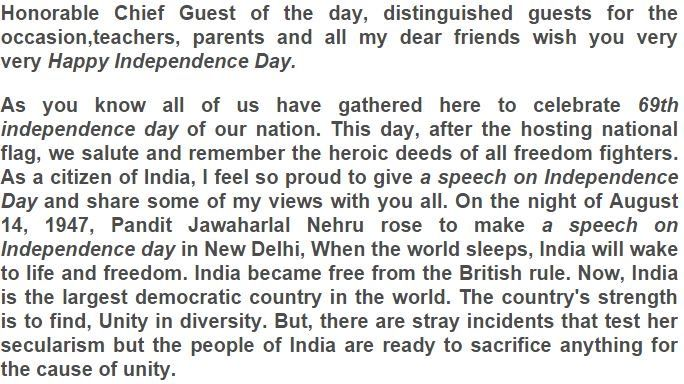 Independence day speech in english for school students 2015 pdf