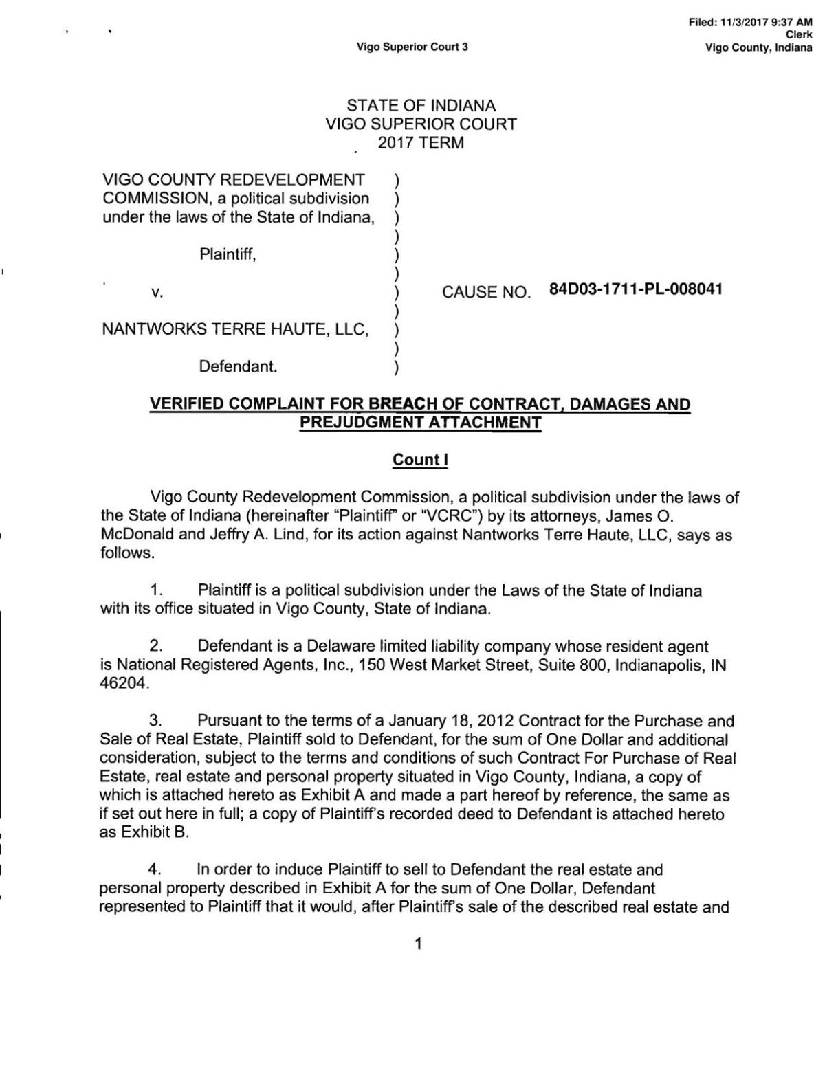 Breach of contract complaint pdf
